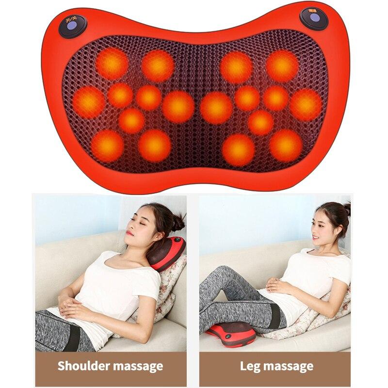 18 Heads Massage Pillow Electric Head Neck Massager Car Home Cervical Massage Neck Back Waist Body Heating Kneading Massage Tool