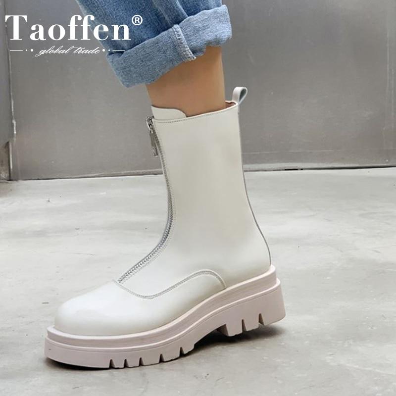 Taoffen مقاس 33-43 حذاء نسائي قصير بنعل سميك وسحاب عالي الكعب حذاء شتوي نسائي دافئ منتصف العجل حذاء نسائي غير رسمي