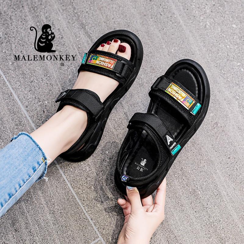 Fashion Sandals Women Summer 2021 Female Espadrilles Casual Open Toed Outdoor Comfortable Non-slip Beach Sport Sandals Black