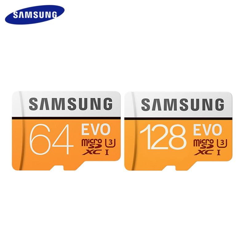 SAMSUNG Micro carte SD carte mémoire 64GB 128GB SDXC Max 100 mo/s EVO 64gb 128gb classe 10 TF carte U3 Trans carte Flash