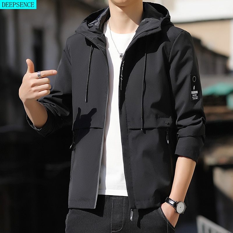 Pure Color Men Jacket Autumn and Winter 2021 New Casual Thickening Spring and Autumn Tooling Jacket