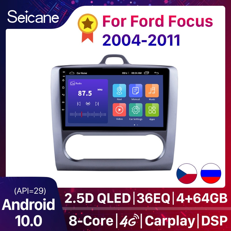 Seicane 2 DIN 9 Inch Android 10.0 DSP GPS Navigation Touchscreen Quad-core Car Radio For 2004 2005 2006-2011 Ford Focus Exi AT
