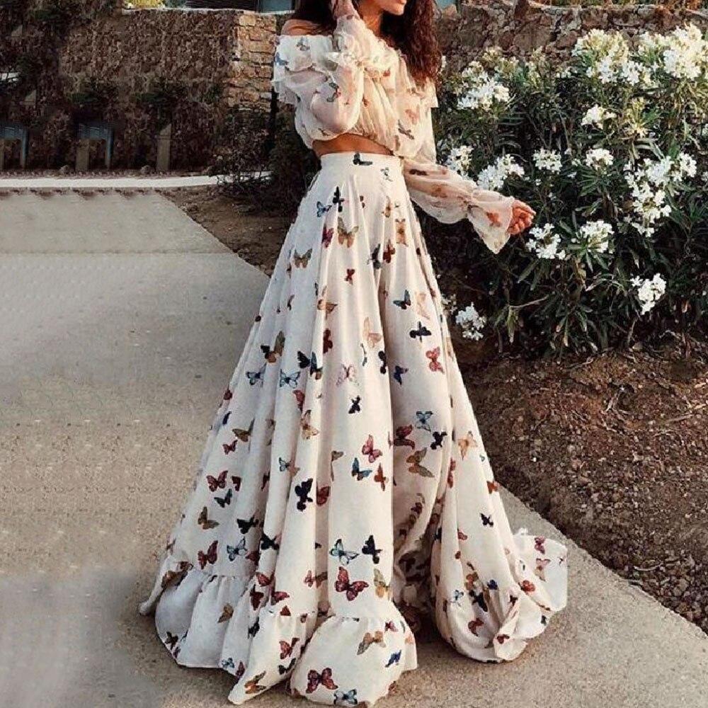 طقم مكون من قطعتين بطبعة زهور للنساء ، بدلة بوهيمية من قطعتين ، تنورة طويلة متأرجحة ، قميص ، بدلات صيفية