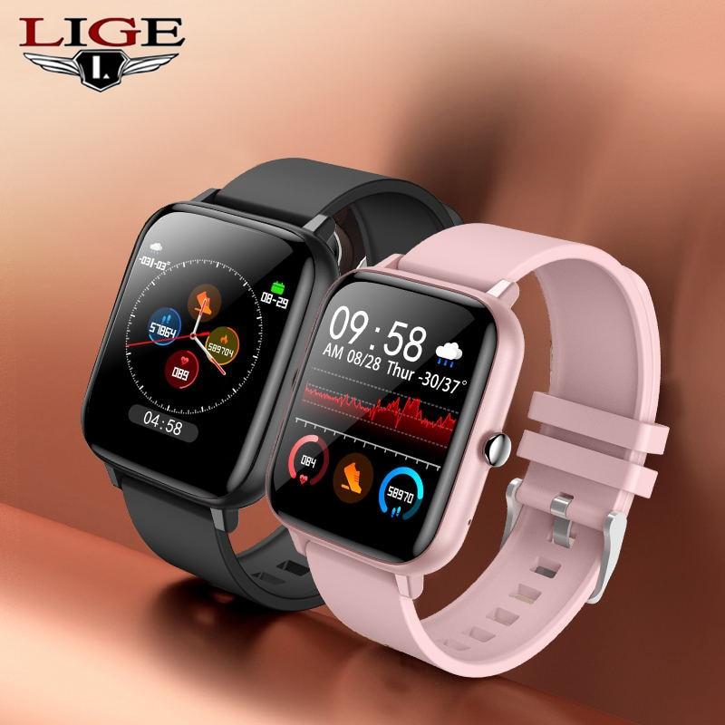 Lige 2021 moda masculina relógio inteligente mulher freqüência cardíaca pressão arterial bluetooth chamada esporte relógio masculino mulher à prova dwaterproof água