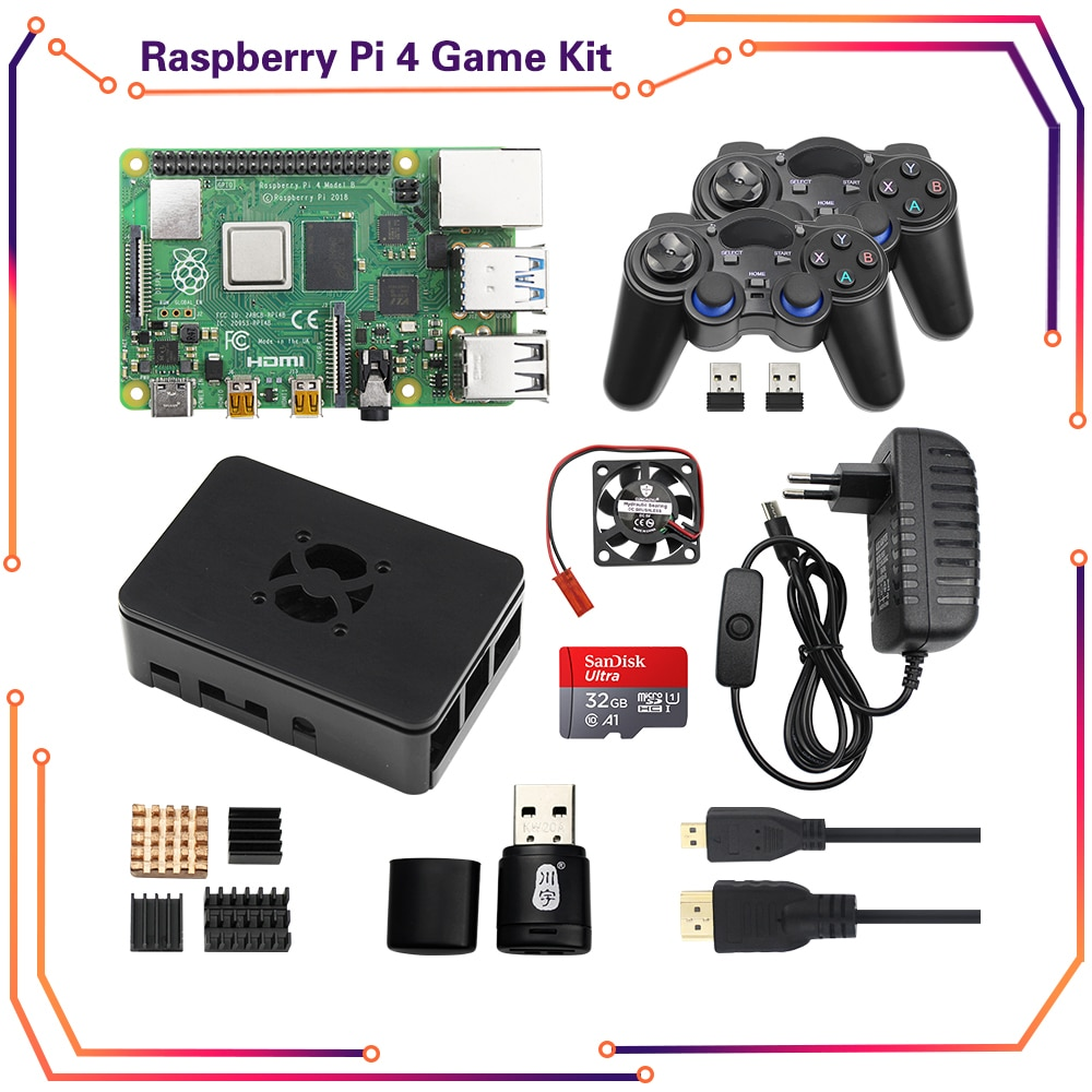 Raspberry Pi 4 Model B Game Kit 2/4/8GB + Wireless Gamepads + 64G/32GB SD Card + Case + Switch Power Supply + Fan + HDMI Cable