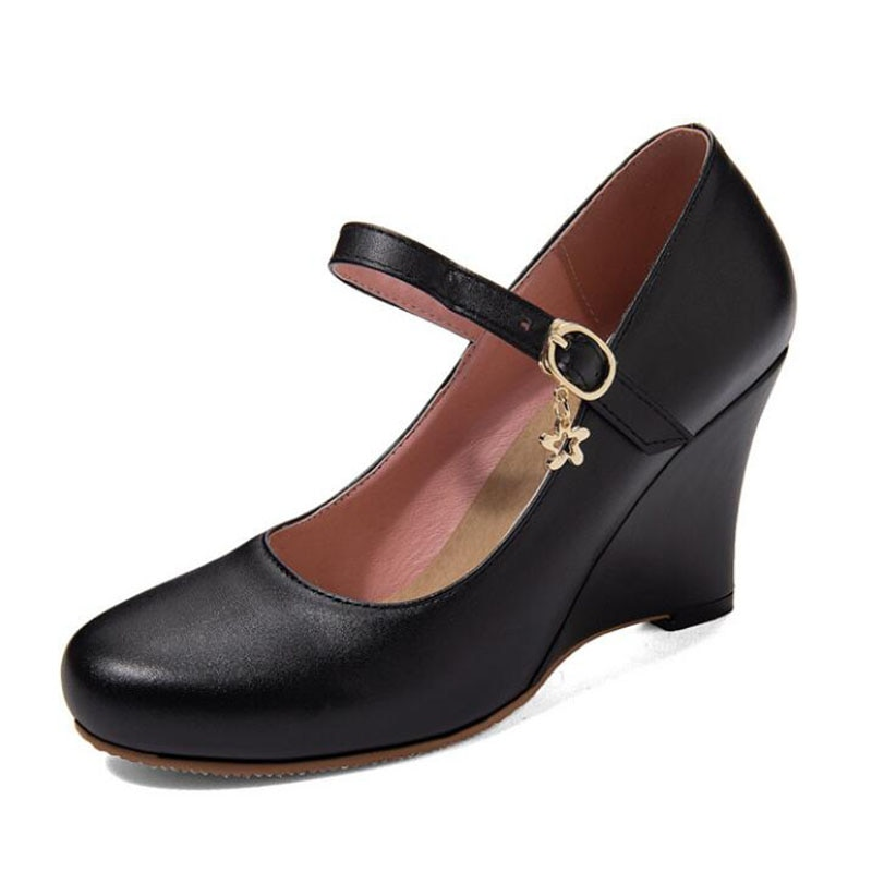 Zapatos de cuña de talla grande 34-45 para mujer 2020, zapatos de tacón alto para mujer con cabeza redonda a la moda para Primavera, zapatos Mary Jane para oficina