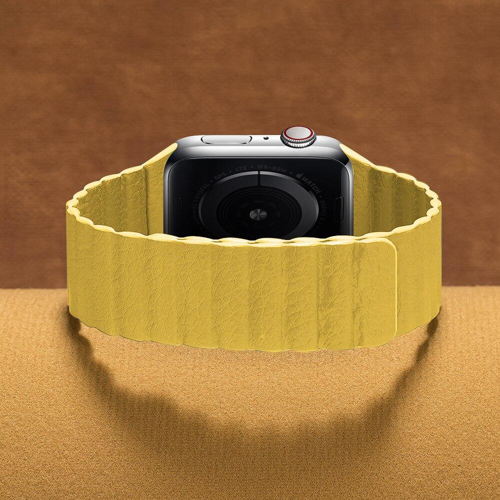 Ремешок кожаный для apple watch band 44 мм 40 мм, браслет с магнитной застежкой 38 мм 42 мм, браслет для iwatch series 6 SE 5 4 3 2 1