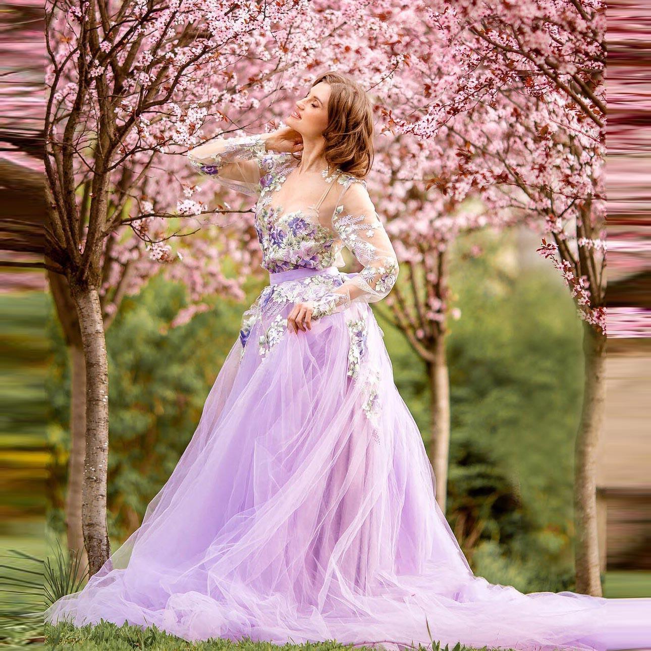 plus flower print see through longline kimono Lavender Tulle Dress Light Purple Dress For Photoshoot See Through Floral Print Evening Dresses With Train Flower Girl Dresses