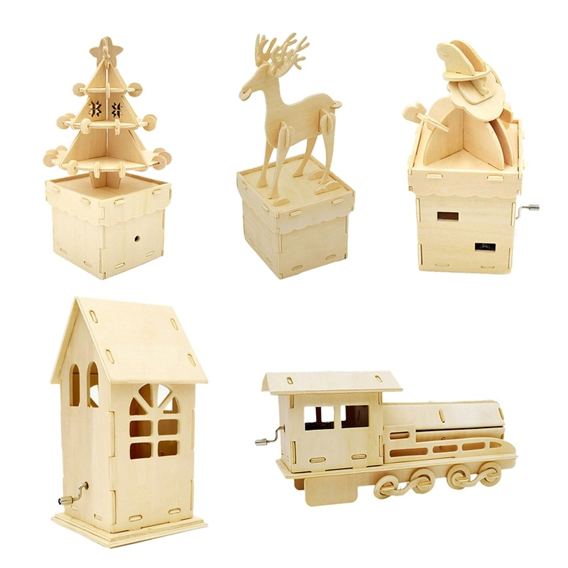 Wooden Music Box Art Craft Ornament Kids DIY Toy Christmas Home Decoration Gift