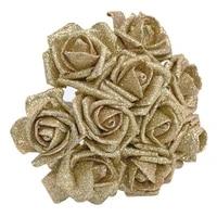 10pcslot 6cm glitter foam rose artificial flower bridal bouquet for home wedding decoration scrapbook diy handcarft fake flower