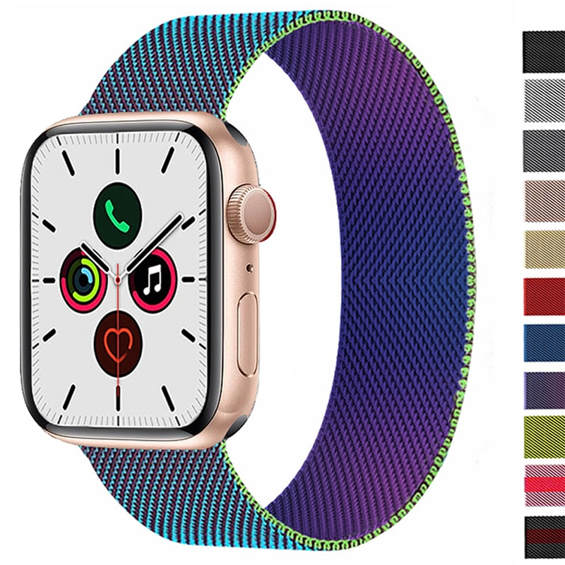 2 pcs strap for apple watch band 44 mm 40mm iwatch band 42mm 38 mm stainless steel bracelet milanese loop apple watch 4 5 3 2 1 Strap For Apple watch band 44mm 40mm 38mm 42mm 44 mm Metal Magnetic Loop Stainless steel bracelet iWatch 3 4 5 6 se band