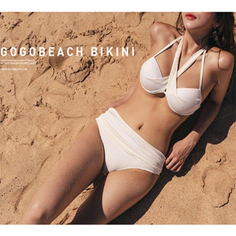 Женский раздельный купальник, Раздельный купальник с перекрестными лямками на груди, 2021