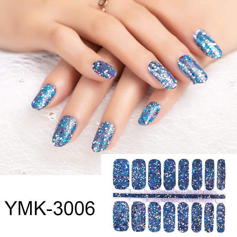 16tips/sheet Glitter Sequins Nail Wraps DIY Polish Sticker Strips Adhesive Shine Nail Art Stickers M