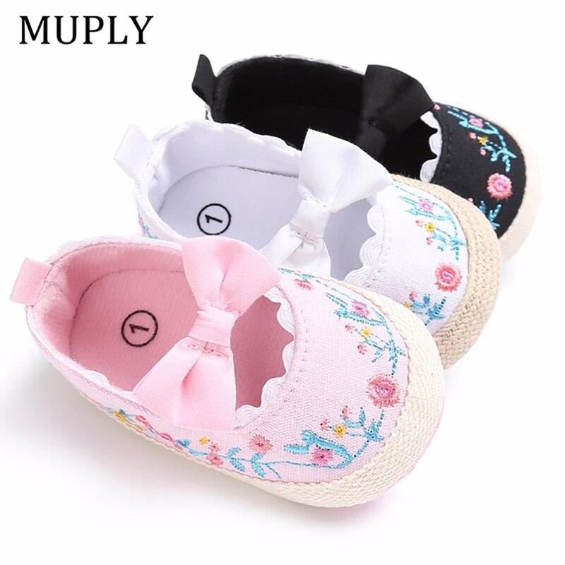 2020 grande arco da criança sapatos para recém-nascido bordado floral bebê sola macia primeiro walker anti-deslizamento sapatos de bebê meninas prewalker