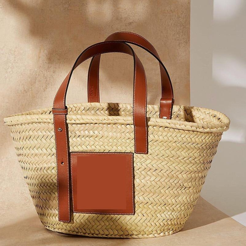 Grass woven cabbage basket Women's bag trend 2021 Shoulder bag Women's genuine leather handbag straw bag woven bag beach bag