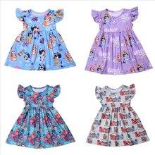Princess Dress For Girls Flutter Sleeve Dress Cartoon Cocomelon Baby Girl Clothes Milk Silk Casual T