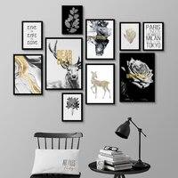 Blanc Rose noir cerf anglais lettres nordique moderne Art affiche murale Simple combinaison toile peinture pour salon maison deco