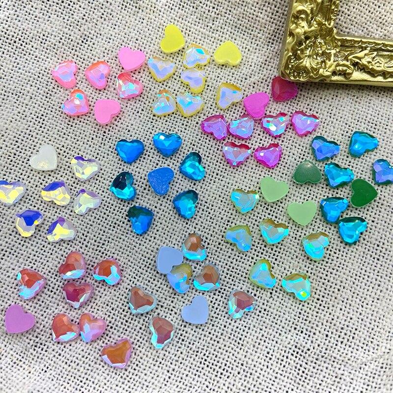 Diamantes de imitación para decoración de uñas, joyería artística de Cristal con forma de corazón, Strass plano, sin fijación por calor, Cristal plano, 30