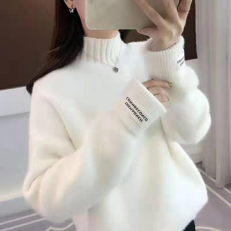 -Mente casuales de moda para las mujeres de cuello alto pelo falso de visón de terciopelo, alta moda versión coreana de cuello redondo suéter