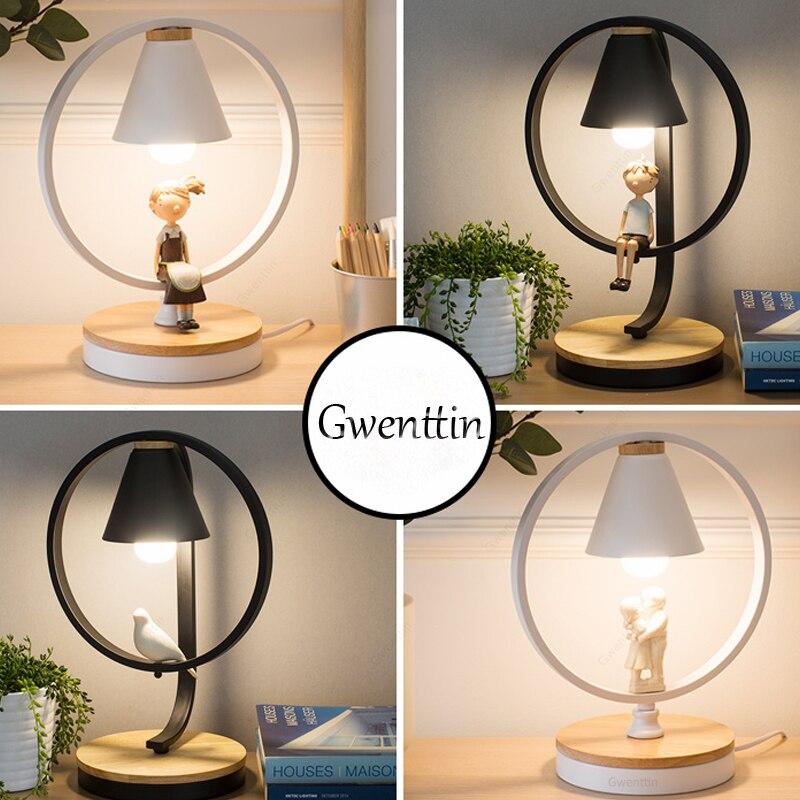 Lámpara de mesa LED nórdica para dormitorio de niño y niña lámpara de mesita de noche Luz de escritorio decoración del hogar accesorios de luz de pájaro moderno Loft luminaria