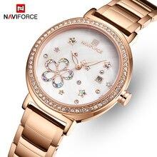 Top marque NAVIFORCE luxe cristal femmes montre en or Rose en acier dames montres Bracelet fille horloge Date Relogio Feminino