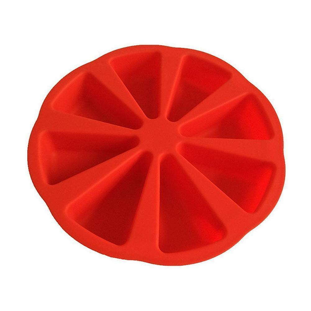 8-agujero molde de silicona para pastel flan, Magdalena pastelería molde de Pizza para hornear triángulo herramientas para tortas de N6E9