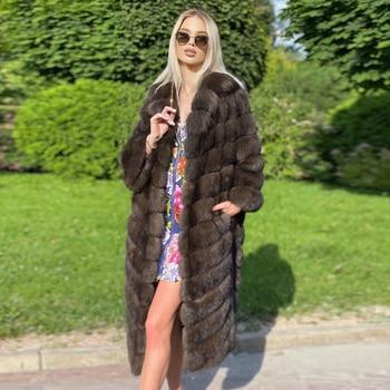 Fahsion Women Long Real Fox Fur Coats 2021 New High Quality Genuine Fox Fur Down Coar with Turn-down Collar Fur Overcoats Winter