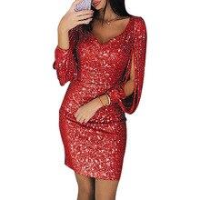 Weyes & Kelf Sexy solide Mini robe pour les femmes coton 2018 chaîne à manches longues mince paquet hanche Mini robe moulante robe dos nu