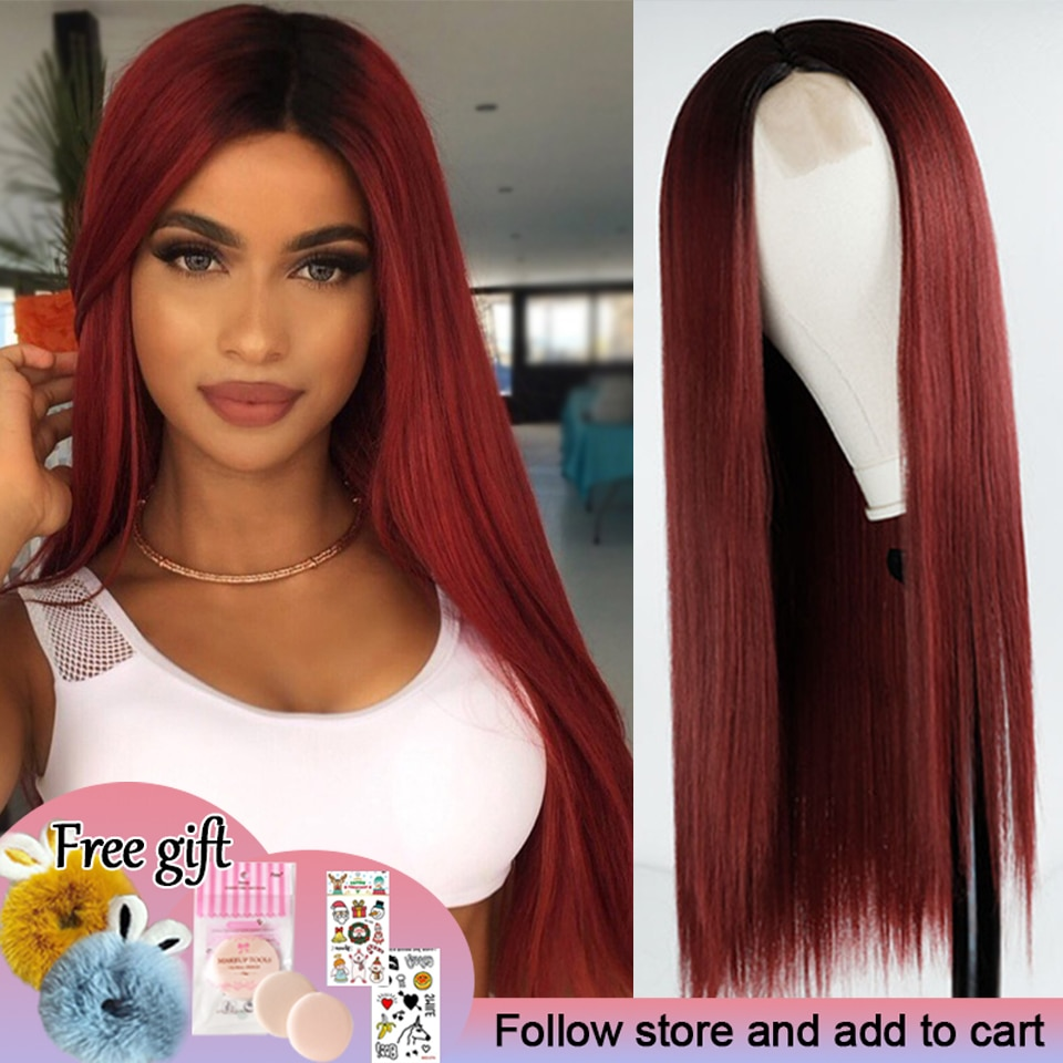Long Straight Hair Lace Front Wig Wine Red Synthetic Wig Ladies Natural Hand Middle Heat-resistant Fiber Daily Wig