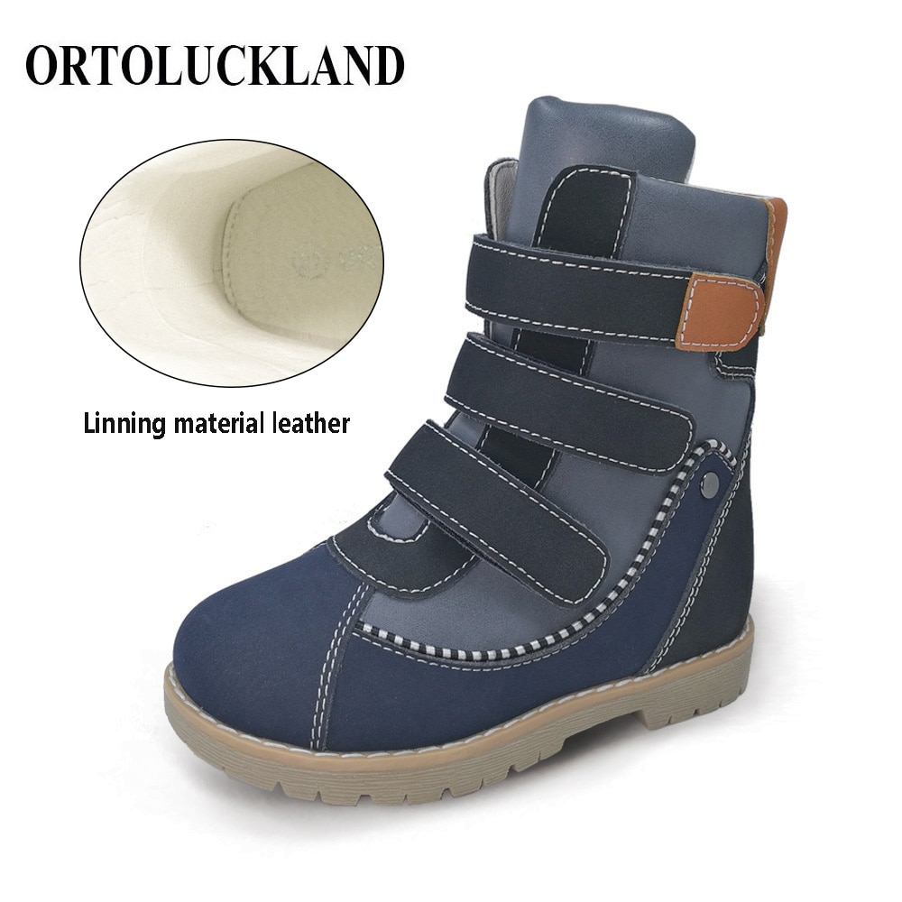 Ortoluckland Casual Shoes For Children Orthopedic Long Winter Boots Kids Boys Girls Martin Black Footwear With Removable Insole enlarge