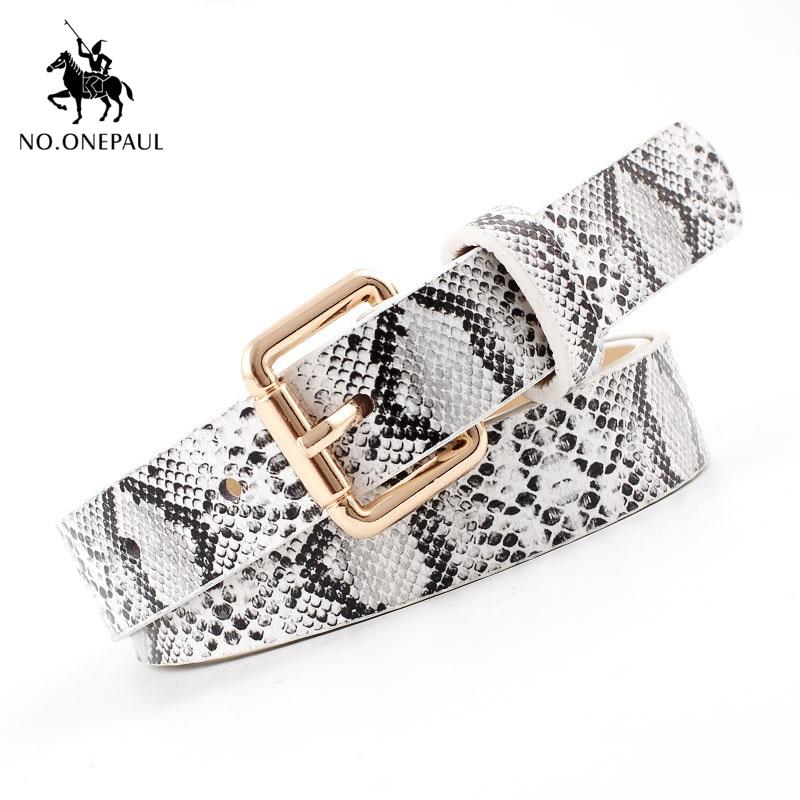 NO.ONEPAUL Snakeskin Print Belts For Women Gold Square Pin Buckle Waistband Leather Belt Women Dress Jeans Leather Belt fashion