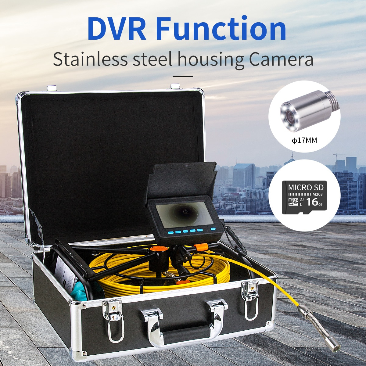 WP9604B Pipe Inspection Camera, Snake Cam with DVR Drain Sewer Camera IP68 Waterproof Industrial Pipeline Endoscope 30M/100FT