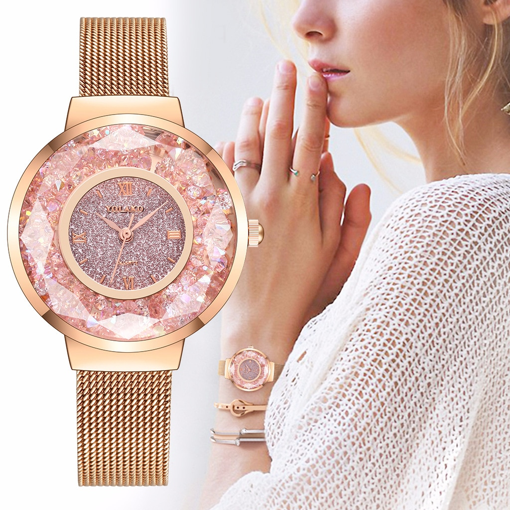 YOLAKO Hot Fashion Women's Watch with Diamonds Stainless Steel Strap Quartz Watches Ladise Clock Zegarek Damski