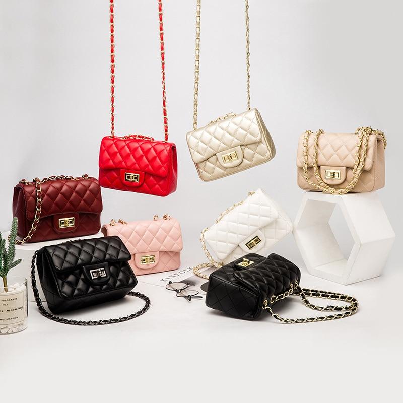 KYYSLO Lock Diamond Bag Chain Shoulder Crossbody Bags Female European and American Fashion Women Bags Small Square Women Bags