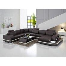 Sofá de couro genuíno de alta qualidade, sofá moderno de couro genuíno de alta qualidade para sala de estar