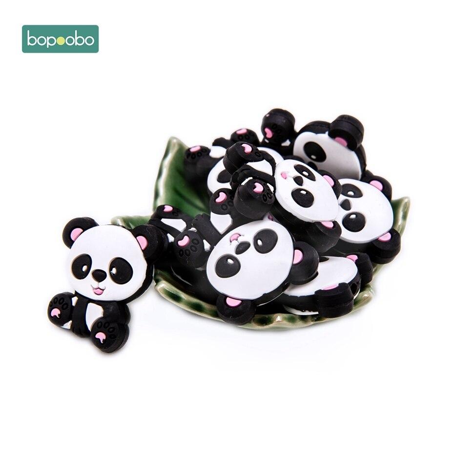 Bopoobo 100pc bebé mordedor silicona Panda cuentas alimentación grado dentición Chewable Bpa gratis para COLLAR COLGANTE gato mordedor