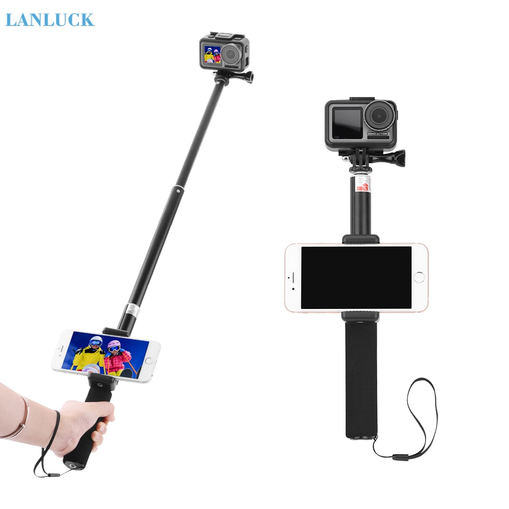 Selfie Stick Pole Self-timer for DJI Osmo Action for GoPro 9 Hero 8 7 6 5 Camera Extension Rod Phone Holder Camera Accessories