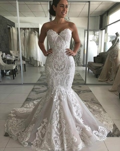 New Fashion Designer Sweetheart Lace Appliques Mermaid Wedding Dresses Appliques Lace Bridal Gowns Zipper Back Custom Made
