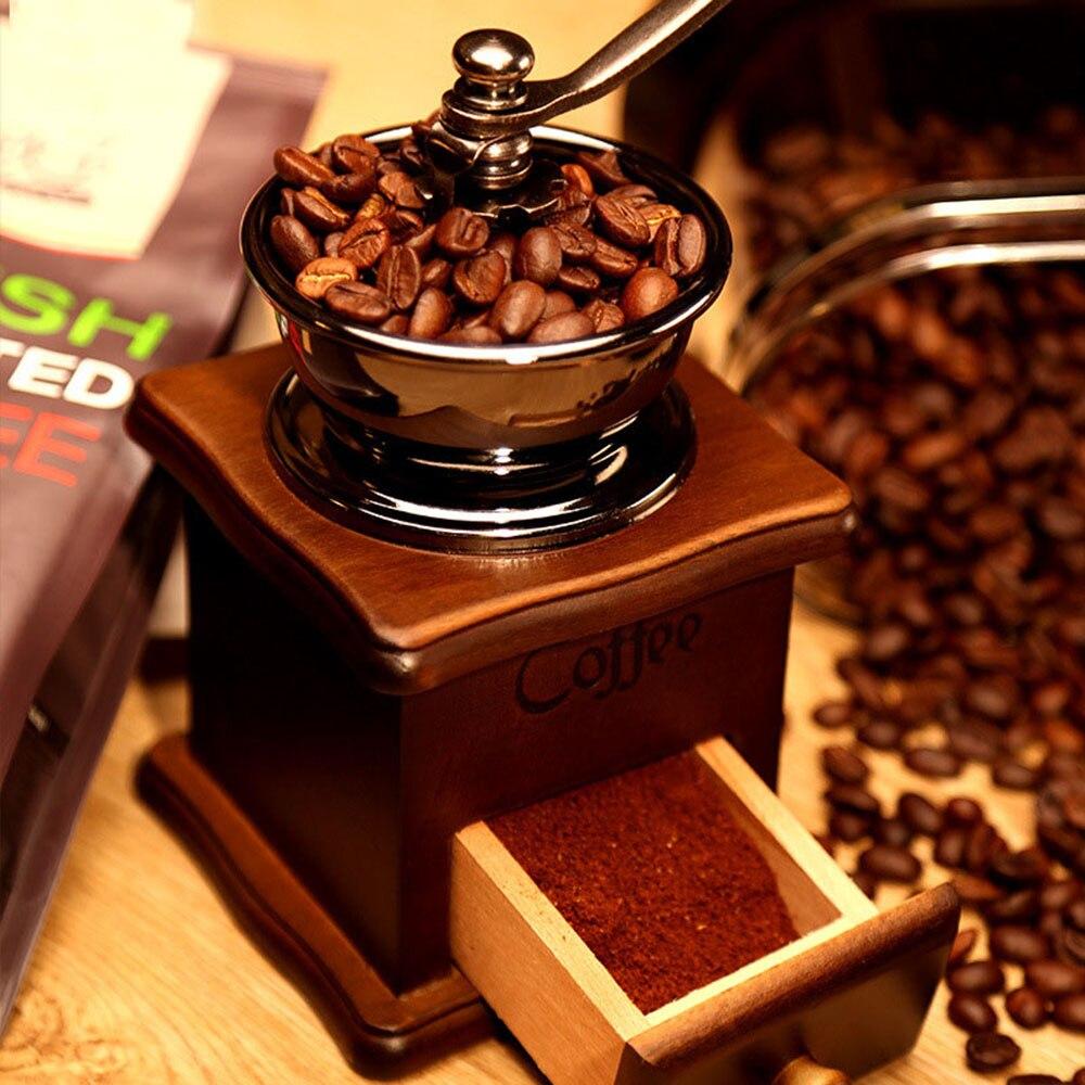 Molinillo de Café Manual de madera clásico, molinillo de café Retro con Mini fresa de cerámica de alta calidad