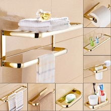 골드 세련 된 황동 광장 욕실 하드웨어 수건 선반 수건 바 종이 홀더 헝겊 후크 욕실 액세서리 Kxz014
