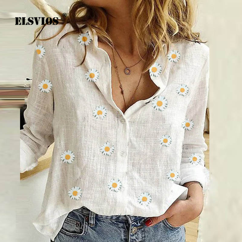 5XL Daisy Floral estampado cuello pico otoño blusa mujer camisa 2020 Casual Botón de manga larga ropa de calle de primavera Tops blusas femeninas