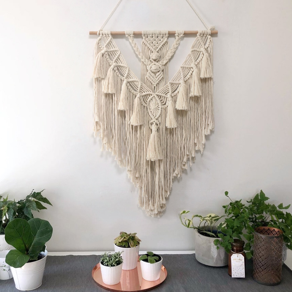 Decoración del hogar macramé tapiz colgante de pared bohemio de moda arte artesanías tapiz tejido