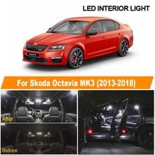 18 Uds Canbus blanco LED lámpara Interior Domo mapa luces Kit de bombilla para 2013-2018 Skoda Octavia MK 3 MKIII matrícula de luz