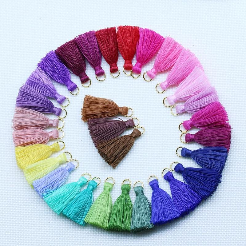 20-100Pcs Polyester Cotton Mini Metal Ring Tassel Trim DIY Hanging Ring Fringe Trim Garments Curtains Jewelry Decor Tassels Lace