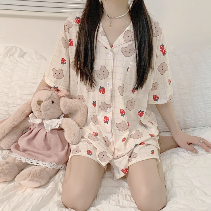 Short Sleeved Pajamas Women's Summer Two-piece Set 2021 New Cartoon Cute Net Red Home Clothes Set Fa