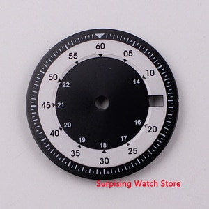 28.5mm BLIGER white dial date window dual time zone Watch Dial fit DG2813 MIYOTA 8215 Movement