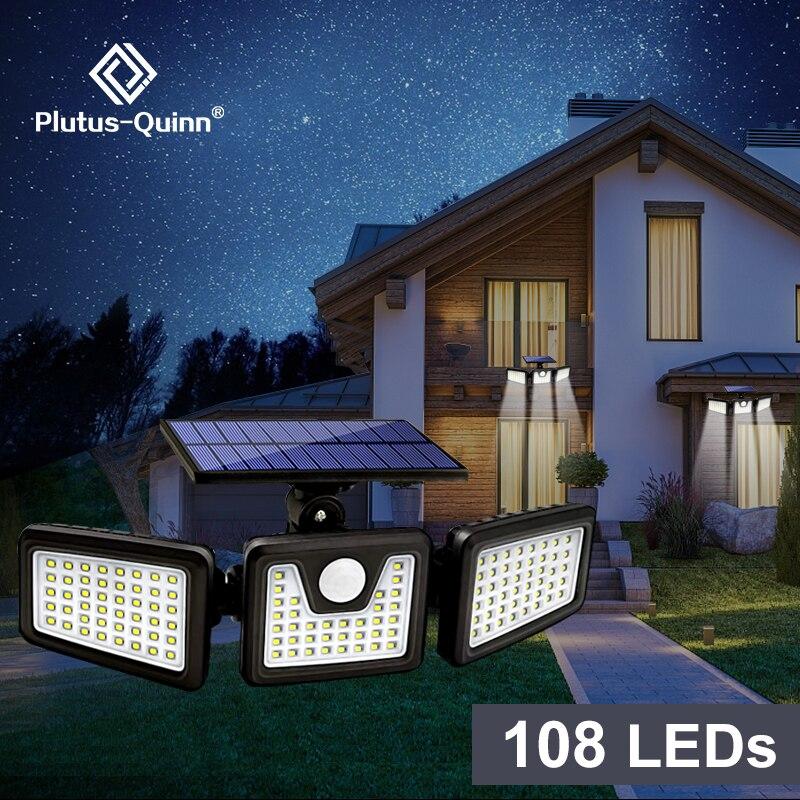 Solar LED Light Outdoor 108 LED 3 Head Motion Sensor Remote Control Lamp 270 Wide Angle Illumination Wall lamp Flood Lights