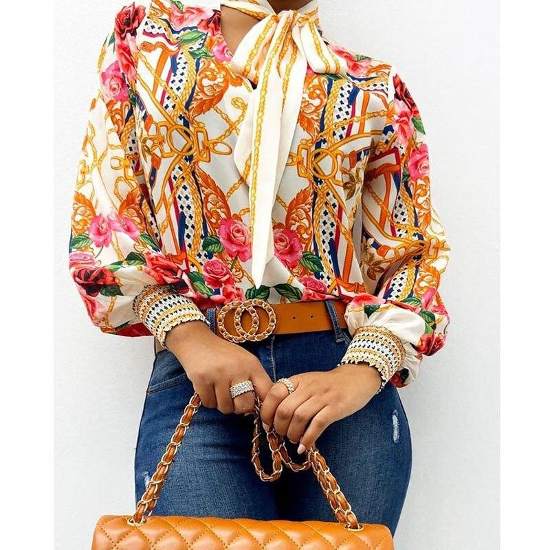 Bufanda cuello estampado barroco Top blusas Mujer Retro estampado Blusa con manga de linterna camisa elegante Oficina señora camisa moda Blusa Mujer