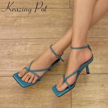 Sandalias de verano transpirables para mujer, coloridas sandalias de piel auténtica con punta cuadrada y hebilla de tacón alto L35