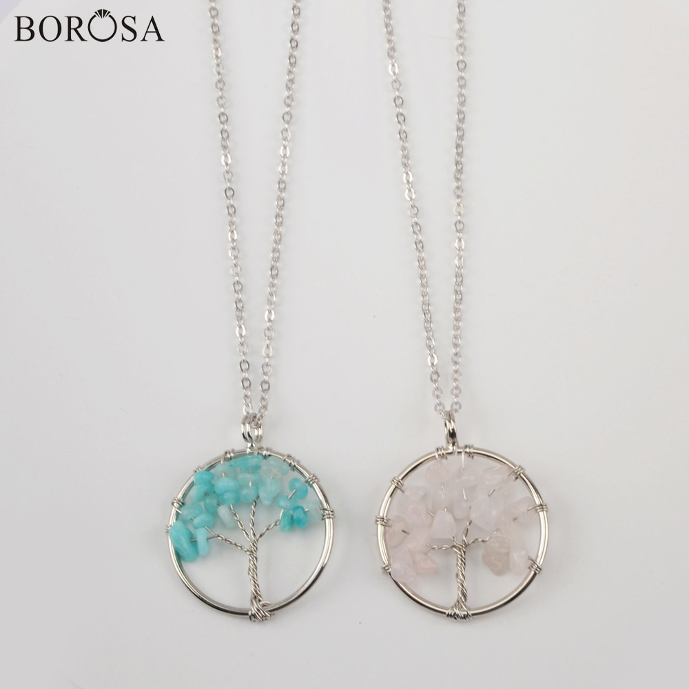 """Borosa 10/20 pçs pedras naturais árvore da vida pingente colares 18 """"corrente colares de cristal colar WX1359-N"""
